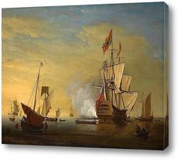 Сцена гавани: английский корабль стреляет со снятыми парусами