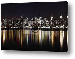 Постер Midtown (West Side) Manhattan at night (panoramic photo made of