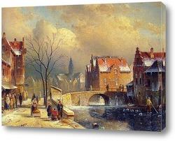 Улица и городской канал зимой