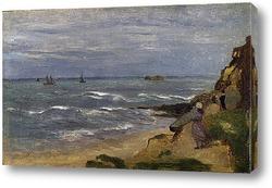 Картина Морской пейзаж с фигурами на скалах