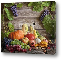 Постер Fruits and vegetables with pumpkins in autumn still life