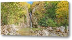 Постер Осенняя панорама водопада на реке Агура