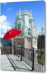 Постер красный зонт