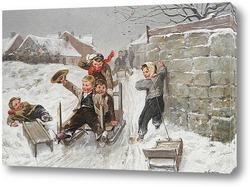 Постер Зимняя сцена с мальчиками на санках