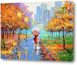 Картина Вечерний дождливый парк