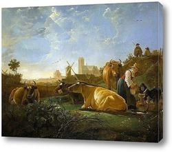 Постер Вид на Дордрехт с дояркой, пастухами и коровами