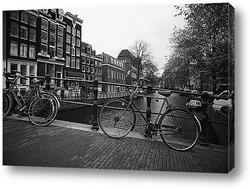 Картина Велосипедная стоянка на мосту