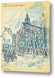 Картина Париж. Санкт Медард.Церковь Муффетар