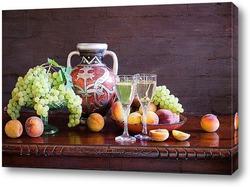 Постер С персиками и виноградом