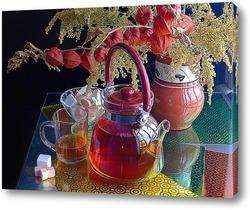 """Постер Натюрморт """"Чайник и чашка с чаем"""""""