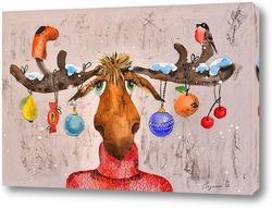 Постер Новогодний лось