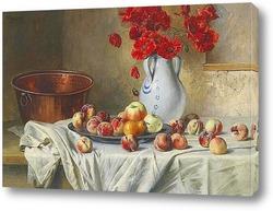 Натюрморт с яблоками и маками