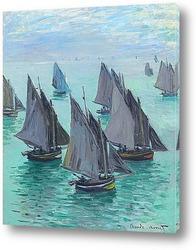 Постер Рыбацкие лодки.Спокойное море