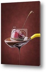 Постер Растопленный шоколад с вишней