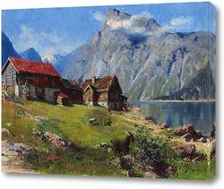 Картина Норвежский фьорд с козами