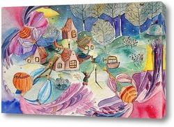 Картина Рождественский поселок
