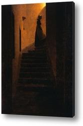 Картина Каролина на ступеньках.
