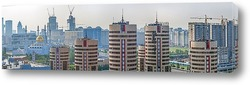 Постер Утренняя панорама Астаны (Целиндрические новостройки)