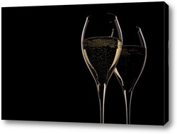 Постер Два бокала с шампанским на черном
