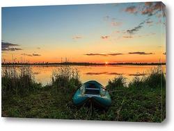 Постер Резиновая лодка на берегу озера