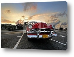 Постер Red car in Havana sunset