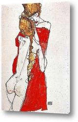 ЛЕЖАЩАЯ и СИДЯЩАЯ женщина ню на красной и зеленой ткани