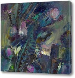 чертополох,цветущий за сараем