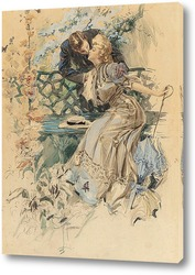 Картина Сбор меда, иллюстрация календаря, 1907