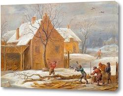 Постер Зимний пейзаж с видом на село с лесорубами