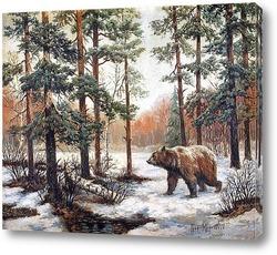 Постер Зимний пейзаж с медведем