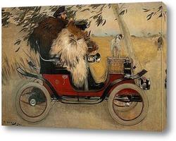 Картина Рамон Касас и Пере Ромеу в автомобиле