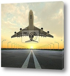 Постер Takeoff plane in airport at sunset