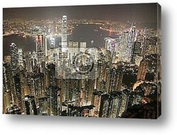 Постер Hongkong Skyline at night