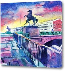 Картина Аничков мост в закате