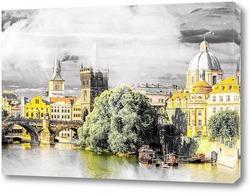 Постер Вид на реку.Прага