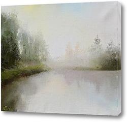 Картина Туманное утро на озере
