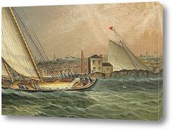 Яхтинг в гавани Бостона
