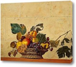 Картина Корзина с фруктами. Вольная копия картины Караваджо.