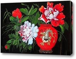 Картина Красный пион в китайской вазе
