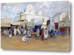 Постер Вид на мечеть, площадь Баб-Соика, Тунис
