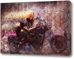 Постер Девушка и мотоцикл