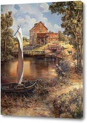 Картина Старинный деревенский пейзаж