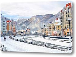 Постер Роза Хутор. Горнолыжный курорт вблизи города Сочи. Набережная зимой.
