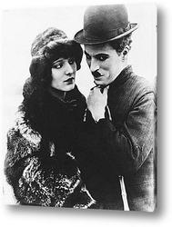 """Постер Чарли Чаплин и Костар в\""""Золотой лихорадке\""""."""