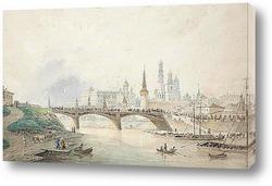 Постер Вид на Московский Кремль со стороны реки