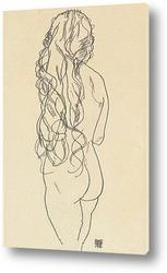 Стоящая обнаженная с длинными волосами