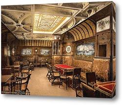 """Постер """"Кайзер Вильгельм дер Гроссе"""" кабина для курения, Северо-германский Ллойд, почтовый пароходы. 1890-1"""