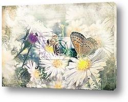 Постер Бабочка нна цветке в ретро стиле