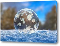 Картина Замёрзший мыльный пузырь в зимнем лесу