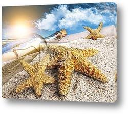 Beach accessories with a golden sunset